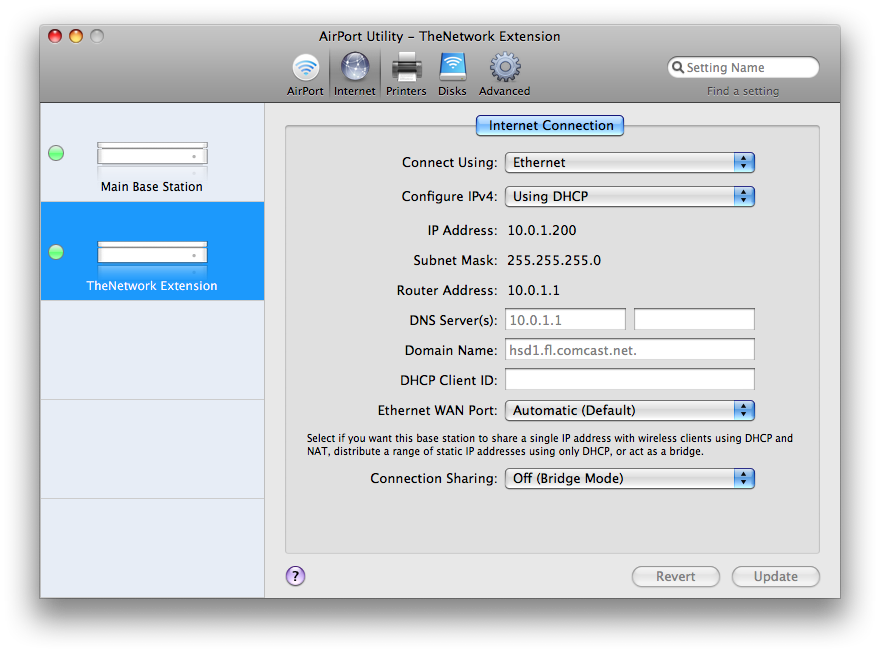 AirPort Extreme Network Extension Settings